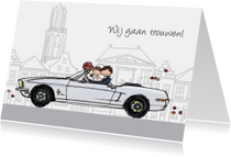 Trouwkaart Mustang wit