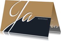 Trouwkaart typografie en fotolijst
