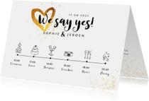 Trouwkaart uitnodiging goudlook tijdlijn met illustraties