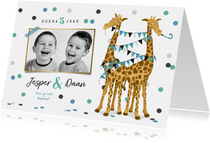Tweeling kinderfeestje giraf feest confetti slingers