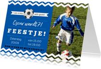 Uitndoging kinderfeestje voetbal blauwe kleur aanpasbaar
