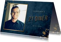 Uitnodiging 21 diner donkerblauw met gouden accenten