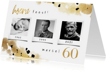 Uitnodiging 3 foto's confetti en goud voor verjaardag