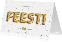Uitnodiging 50 feest folieballon met confetti aanpasbaar