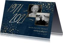 Uitnodiging 50 foto jaartallen donkerblauw met terrazzo