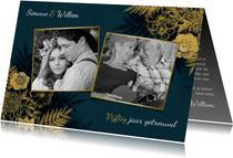 Uitnodiging 50 jarig jubileum met gouden bloemen & waterverf