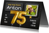 Uitnodiging Ballonnen goud 75