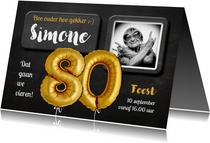 Uitnodiging 80 jaar Ballon goud krijtbord