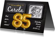 Uitnodiging 85 jaar ballonnen goud