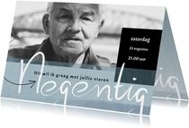 Uitnodiging 90ste verjaardag, met geschreven 'negentig'