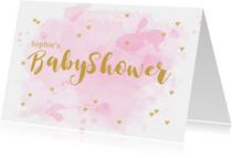 Uitnodiging babyshower aquarel hartjes roze