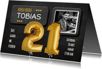 Uitnodiging Ballonnen goud 21