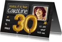 Uitnodiging Ballonnen goud 30