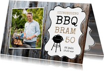 Uitnodiging barbecue rode ruitjes en foto