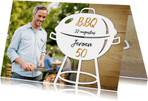 Uitnodiging bbq met hout en foto
