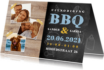 Uitnodiging BBQ met hout, krijtbord, illustraties en foto's