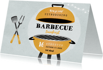 Uitnodiging bbq tuinfeest barbecue grill vintage illustratie