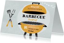 Uitnodiging bbq tuinfeest barbecue grill vintage illustratie