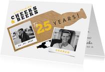 Uitnodigingen - Uitnodiging Cheers & Beers met papierlook en foto