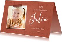 Uitnodiging communie christelijke symbolen met foto meisje