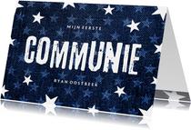 Uitnodiging communie denim stoer met sterren