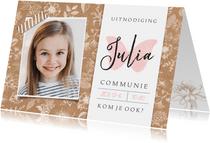 Uitnodiging communie feest meisje - kraft met bloemen