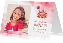 Uitnodiging communie flamingo met grote foto en waterverf