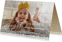 Uitnodiging communie grote foto met goudlook hartjeskader