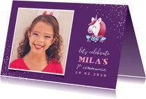 Uitnodiging communie grote foto met unicorn en confetti