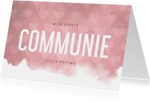 Uitnodiging communie hip waterverf roze met hartjes