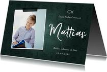 Uitnodiging communie jongen christelijke symbolen met foto