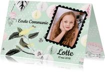 Uitnodiging Communie met lieve vogeltjes en aanpasbare foto
