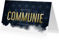 Uitnodiging communie stoer waterverf blauw met sterren