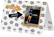 Communiekaarten - Uitnodiging communie voetballen en foto