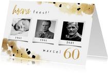 Uitnodiging confetti goud verjaardag drie foto's