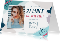 Uitnodiging etentje 21 diner met eigen foto