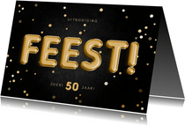 Uitnodiging feest 50 folieballon met confetti aanpasbaar