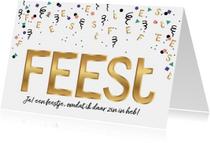 Uitnodigingen - Uitnodiging feest in goud