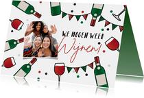Uitnodiging feestje borrel wijnen cheers we mogen weer