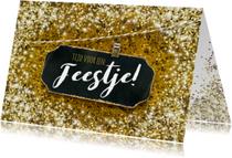 Uitnodigingen - Uitnodiging feestje felicitatie glitter goud
