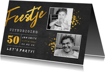 Uitnodiging 'feestje' krijtbord met 2 foto's