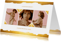 Uitnodiging fotocollage gouden verf stijlvol
