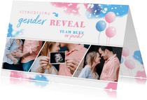 Uitnodiging gender reveal fotostrip met ballonnen
