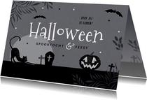 Uitnodiging halloweenfeest spooktocht donker pompoen kat