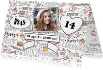 Uitnodiging handlettering trendy kaart met foto en banner