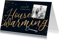 Uitnodiging housewarming goud spetters sleutel foto