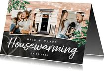 uitnodiging housewarming hout krijt planten foto's