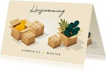 Uitnodiging Housewarming met verhuisdozen, planten en kat