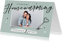 Uitnodiging housewarming sleutel hartjes foto