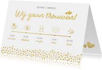 Uitnodiging huwelijk met een dagindeling tijdlijn goudlook